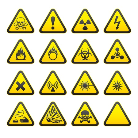 high voltage sign: Set of Triangular Warning Hazard Signs.