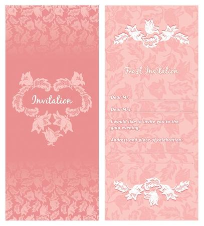 wedding invitation, ornament-flowers Vector