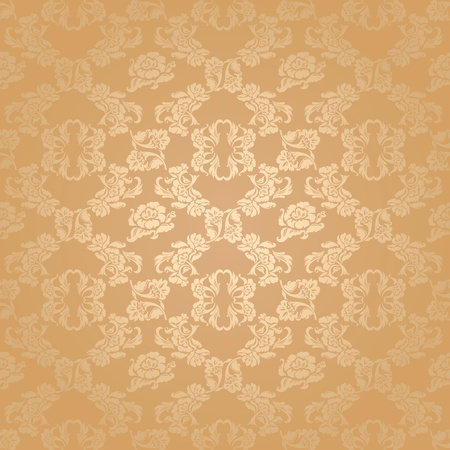 Seamless background flowers, floral pattern gold vector Vector