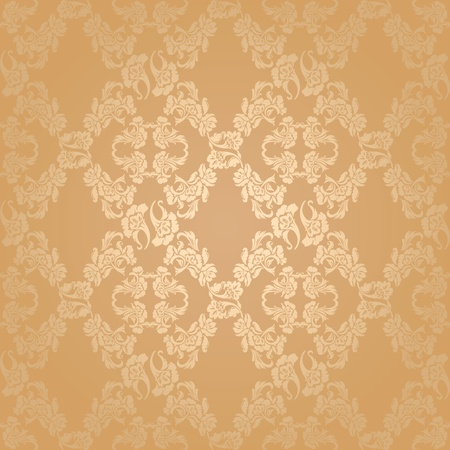 Vector seamless background flowers, floral gold Vector