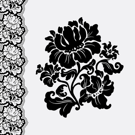 flower and border lace Vector