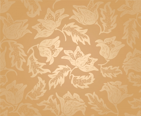 Floral pattern background pattern, gold Vector