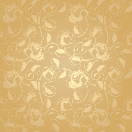 Seamless pattern -  floral background, gold Vector