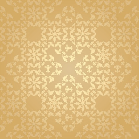 Seamless pattern, floral background, gold Vector