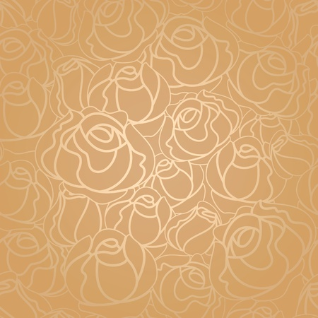 roses pattern: Seamless roses pattern, gold