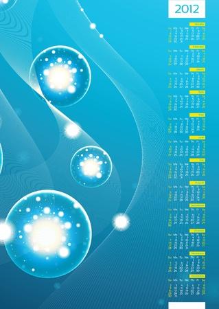Abstract Background Light balls under Water-Calendar 2012 Vector