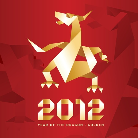 Origami Dragon, 2012 Year - Red Vector
