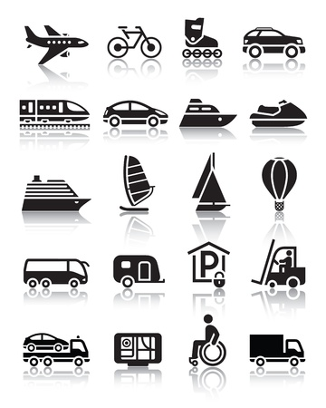 boat trailer: Set of simple transport icons with reflection
