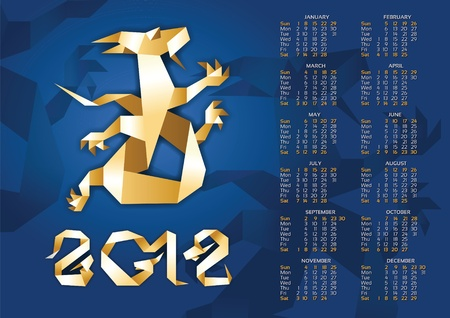 Calendar - Origami Dragon 2012 Year. 10eps Vector
