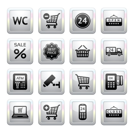 atm card: Establezca pictogramas servicios de supermercado, iconos de compras