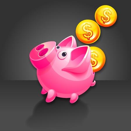 Piggy Bank and falling Money.  Vector