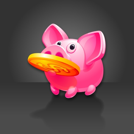dollar sign icon: Piggy Bank found Money. Pig icon.