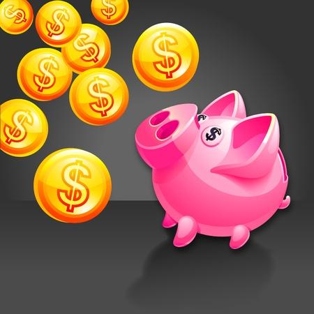 Piggy bank illustration.  Vector