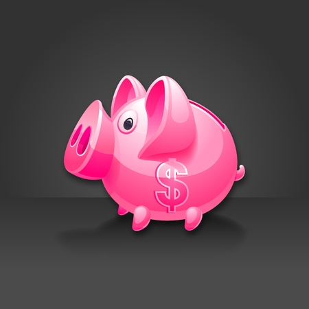dollar icon: Pink piggy bank with dollar sign. Black background. Illustration