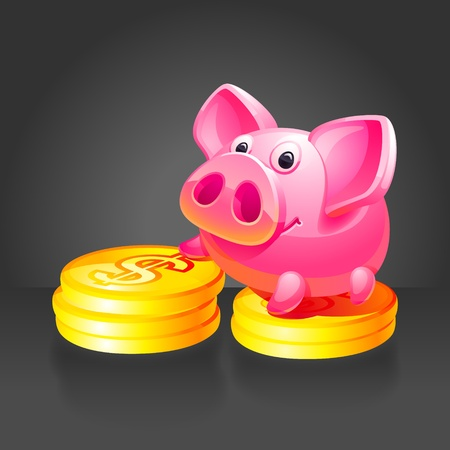 Pink piggy bank with gold coins. Black background. Vector