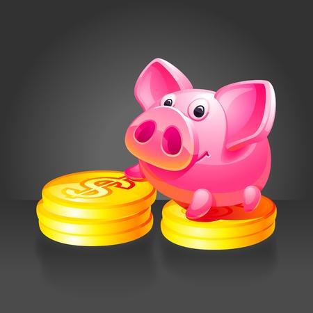 mumps: Rosa alcanc�a con monedas de oro. Fondo negro.