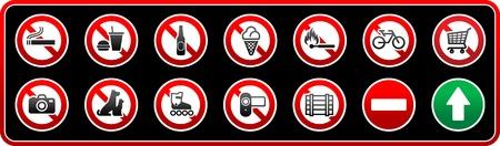 prohibido: Se�ales de prohibido. Pegatina para supermercados Vectores