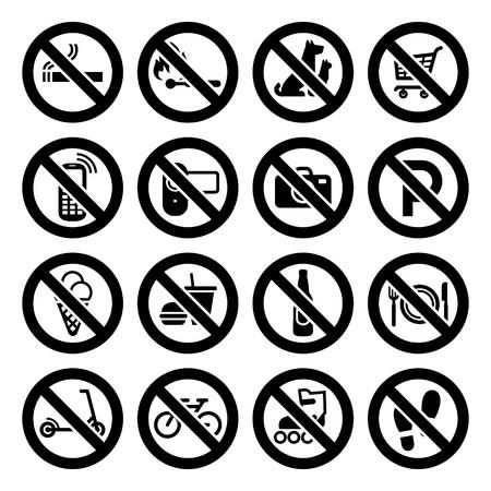 proibido: Set prohibited symbols, shop black signs