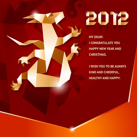 Origami Dragon, 2012 Year, brown background Vector
