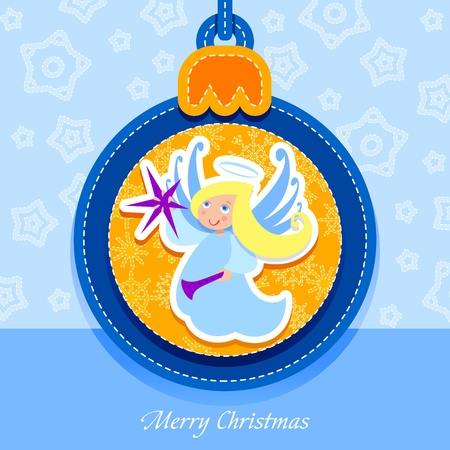 Christmas ball, postcard, Angel Vector
