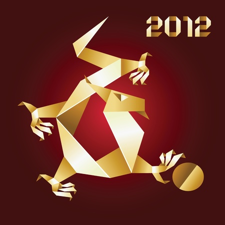 Dragon Origami, 2012 Year - Gold&Red Stock Vector - 11066325