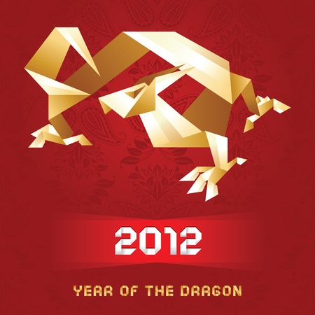 Origami Dragon, 2012 Year - Gold&Red Vector