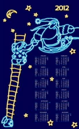 Santas line neon, New Year's template calendar. 10 EPS(63).jpg Stock Vector - 11066329