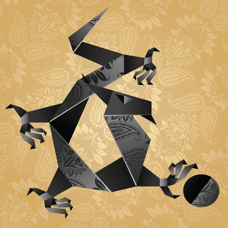 Origami black water dragon on a gold background Vector