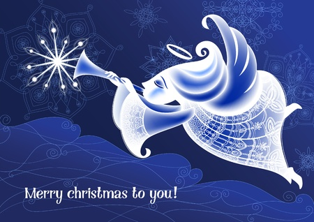 Christmas Angel flies and plays the trumpet Vector