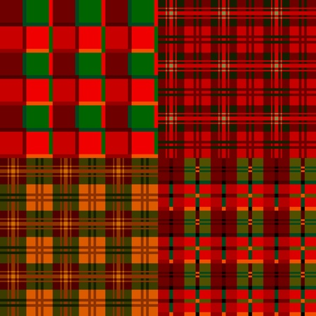 Set tartan, plaid patterns, fabric textile Vector