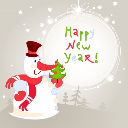 Snowman with Christmas tree - greeting card. 10eps Vector