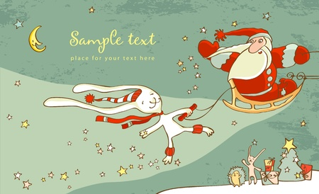 Santa Claus and white hare. Christmas Card Stock Vector - 11171834