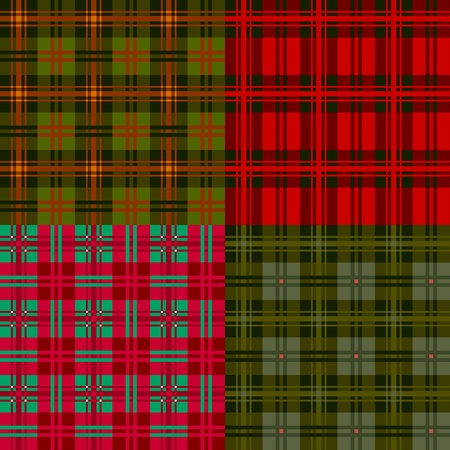 Set plaid patterns, tartan, fabric textile Vector