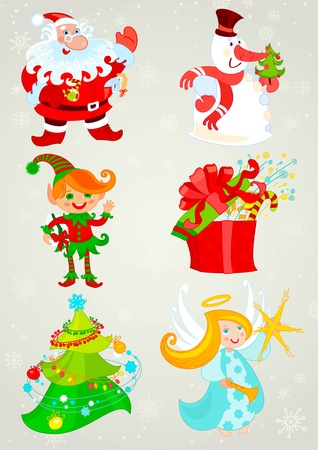 Set, santa claus and Friends Vector