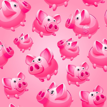 Piggy Bank on pink background, seamless, wrapping paper Vector