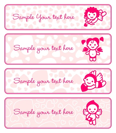 Cupids banner set, collection angels Vector
