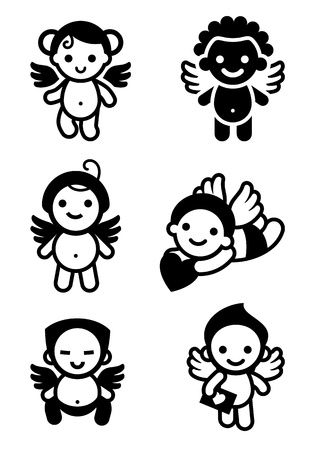 Cupids set Vector