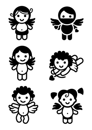 Cupids set, collection angels Vector