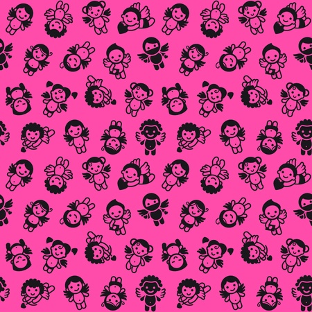 Cupids set, black on pink background, wrapping paper Vector