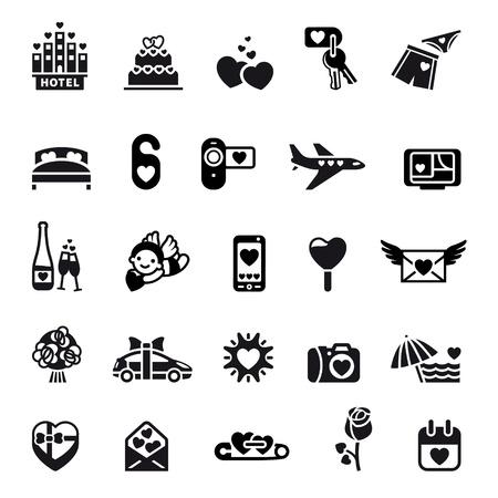 sun bed: Love icon set