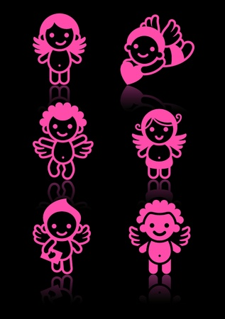Cupids set, pink on black background Vector