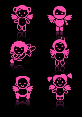 Cupids set, pink icons on black background Vector
