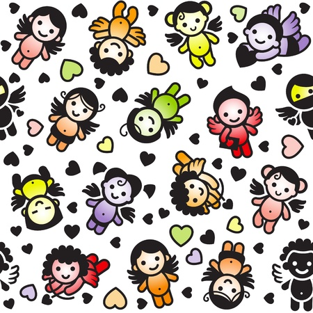 Cupids set, color icons, wrapping paper Stock Vector - 11272823