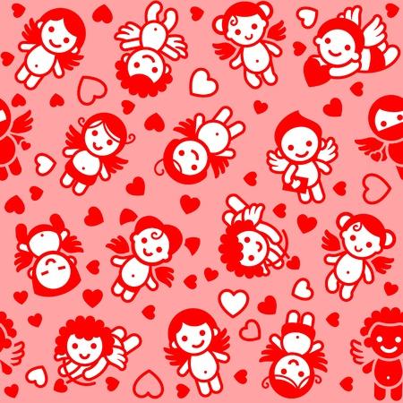 love wallpaper: Conjunto de cupidos, los iconos de color rojo, papel de regalo