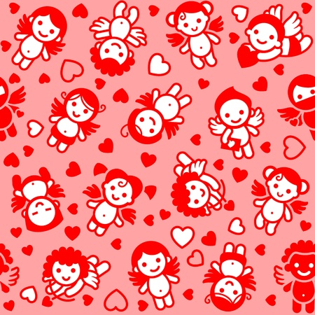funny love: Cupids set, red icons, wrapping paper Illustration