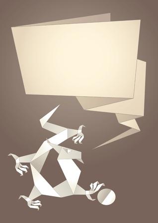 Dragon origami, paper speech bubble, vector Stock Vector - 11383847
