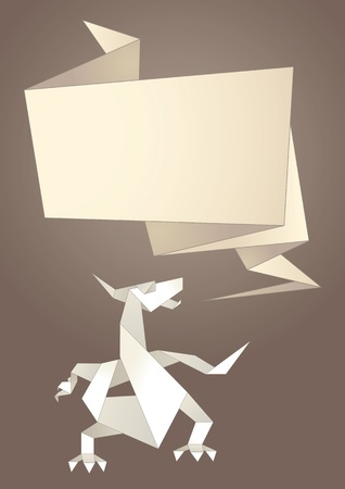 Paper origami speech bubble, dragon Vector