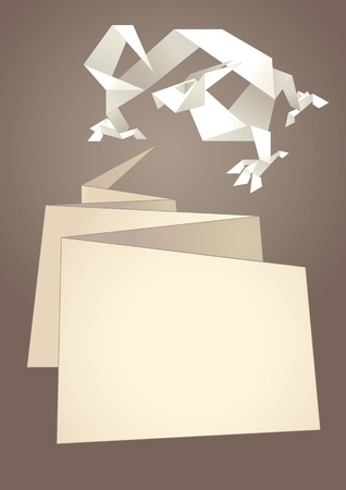 Paper speech bubble, dragon origami Vector