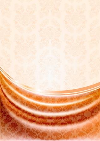 silky velvet: Peachy curtain, silk tissue on beige background.