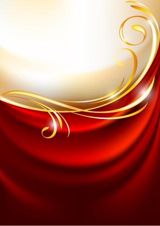 金: ゴールドの背景に赤の生地のカーテン。  イラスト・ベクター素材